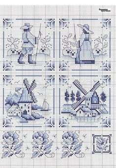Charted design based on Delft tiles Cross Stitch Bookmarks, Cross Stitch Alphabet, Cross Stitch Samplers, Cross Stitch Charts, Cross Stitch Designs, Cross Stitching, Cross Stitch Embroidery, Embroidery Patterns, Cross Stitch Patterns