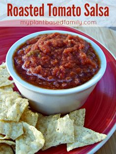 Oven Roasted Salsa that is vegan and gluten-free (as it should be). It has a very complex flavor thanks to the roasted tomatoes, peppers and garlic.  This is so much better than restaurant salsa!