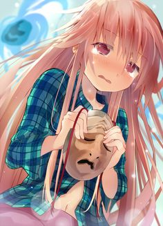 1girl blush crying crying_with_eyes_open efe hata_no_kokoro long_hair mask pink_eyes pink_hair plaid plaid_shirt solo tears touhou