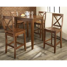 Pub Dining Set with Tapered Leg and Shield Back Stools in Black Finish - Crosley Furniture - - Pub Table, Pub Set Pub Dining Set, Bar Table Sets, Counter Height Dining Sets, Dining Room Sets, Patio Bar Set, Home Decor, Dining Set, Pub Table, Dining Room Table