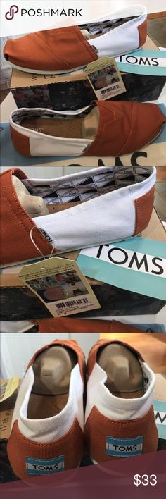 Classic canvas TOMS University Of Texas-Austin Classics Orange and White very summery and crisp. New in box 📦  Light weight canvas slipons, the shoe that made TOMS famous! University of Texas Austin or other schools with Orange and White. TOMS Shoes