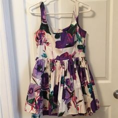 """Urban Outfitters Floral Print Dress Brand is BB Dakota. It has a pencil skirt insert (non-removable) that hangs about 1.5 - 2"""" below the top layer of the dress. There's some tulle in between layers, see photo. Chest 34"""", Waist 28"""", Total Length 32"""", Waist to bottom of top layer 15"""". Tiny bit of discoloration on right armpit, see last photo for details. Any lower offers must be made with the offer button! No price negotiating in comments  Urban Outfitters Dresses Mini"""