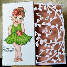"Pretty dicut Ballerina card by Tania using the NEW digi set, ""Ballerina"" at Imagine That.... digis by Kris"