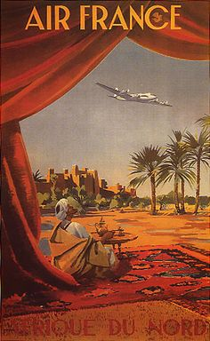 "AFRIQUE NORTH AFRICA DESERT ARAB AIRPLANE FINE VINTAGE POSTER REPRO 12""X16""   eBay"