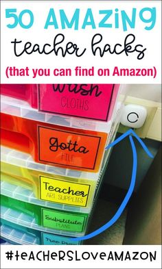 We've gathered together 50 AMAZING ideas that will give you some inspiration for organization & storage, classroom management, and tips/tricks to help you manage Teacher Hacks, Teacher Organization, Teacher Tools, Teacher Resources, Organizing, Teacher Stuff, Classroom Resources, Teachers Toolbox, Teacher Supplies