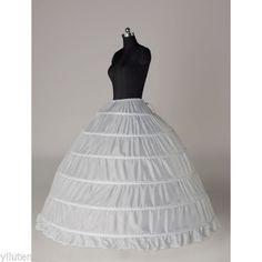 c6d236986c49c Long 6 Hoops Petticoat Crinoline Underskirt Slips Bridal Wedding Dress Ball  Gown White | eBay