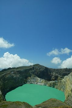 Turquoise Lake at Kelimutu on Flores, Indonesia