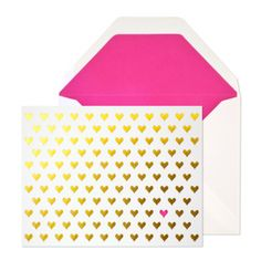 gold hearts card  $6.00  Our Gold Hearts card is letterpress printed by hand on antique machinery. Gold foil and raspberry ink on white paper with white envelope and solid fuschia liner. Folded card, blank inside.    dimensions: 5.5 x 4.25 inches