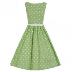 'Audrey' Tarragon Polka Swing Dress