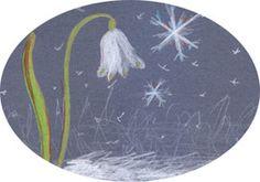 Winter Tafel Kreide Schneeglöckchen Schneeflocken malen