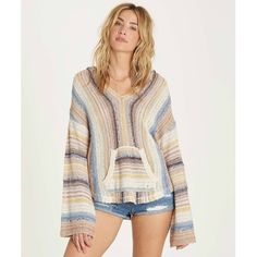 Baja Beach Sweater ($65) ❤ liked on Polyvore featuring tops, sweaters, hooded poncho sweater, stripe sleeve sweater, knit sweater, white knit sweater and hooded knit sweater