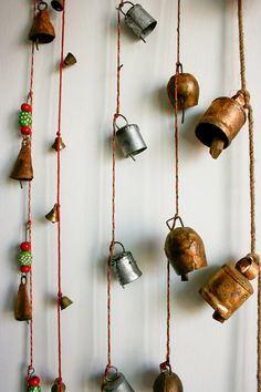 I use these strings of bells to hang on my back doors for security and notification of them being opened.  I usually buy mine at Pier One Imports.