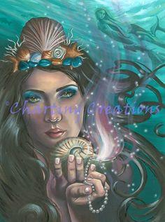 Ace of Cups Art Print / 78 Tarot / Tarot Art / Mermaid Art / / Mermaid Art / Nautical Art / Nautilus Shell Mermaid Canvas, Mermaid Wall Art, Cup Art, Nautical Art, Canvas Prints, Art Prints, Fantasy Creatures, Sea Creatures, Tarot Decks