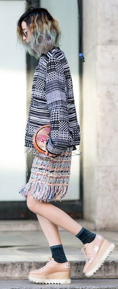 Paris Fashion Week street style: Irene Kim wearing platform brogues, a tweed skirt and patterned jacket Couture Fashion, Paris Fashion, Boho Fashion, Autumn Street Style, Street Style Looks, Gypsy Style, My Style, Irene Kim, Isabel Marant