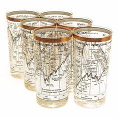 Vintage 1960's Cera Dow Jones Stock Market Gold Rimmed Tumbler Glasses Set of 6