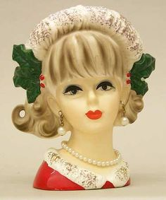 Details About Vintage Glamour Girl Ladies Head Vase In