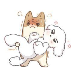 Exo Cartoon, Exo Fan Art, Short Comics, Chanyeol, Exo Exo, Kpop Fanart, Amazing Art, Chibi, Snoopy
