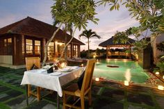 Outdoor dining in Bali house