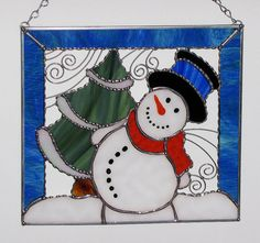 Christmas Holiday Stained Glass Panel - Winter Cold Snowman with Christmas Tree