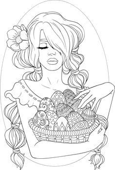 Lineartsy livre adulto colorir página easter alinhado