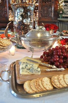 Elegant in Silver Buffet Table Antipasto, English Christmas, Christmas Eve, Southern Christmas, Christmas Brunch, Christmas Parties, Christmas Entertaining, Thanksgiving, Wine Cheese