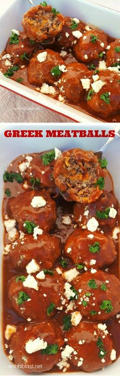 Greek-Style Meatballs Scattered With Feta In A Rich Tomato-Beef Sauce - Vorhang Modelle - Greek Recipes Pork Recipes For Dinner, Veal Recipes, Lamb Recipes, Meatball Recipes, Greek Recipes, Cooking Recipes, Bison Recipes, Sauce Recipes, Feta