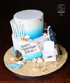 Beach Themed Cake with Paddle Board - Cake by Joy Thompson at Sweet Treats by Joy