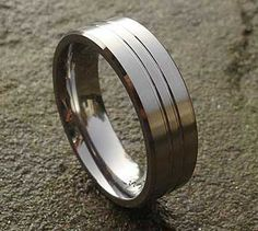 Unusual Titanium Wedding Ring | LOVE2HAVE UK! Titanium Wedding Rings, Titanium Rings, Mens Gold Rings, Rings For Men, Unusual Wedding Rings, Wire Brushes, Jewelry Rings, Jewelry Making, Silver