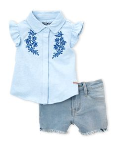 Hudson (Infant Girls) Two-Piece Flutter Shirt & Denim Shorts Set
