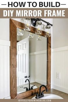 Looking for bathroom mirror ideas? Check out this mirror frame DIY! They framed a bathroom mirror with rustic wood boards! It's an easy DIY project! Follow these simple steps to give your cheap builder grade mirror a makeover! Perfect for any bathroom big or small. #joyfullygrowingblog #DIY #homedecor #remodel #renovation Wood Framed Bathroom Mirrors, Rustic Bathroom Decor, Bathroom Interior Design, Small Rustic Bathrooms, Rustic Bathroom Makeover, Mirrors For Bathrooms, Decorating A Bathroom, Interior Ideas, Bathroom Mirror Design