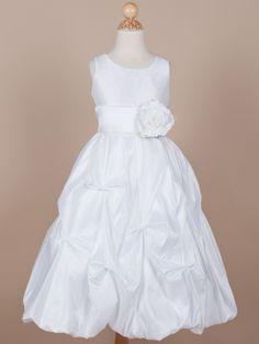Flower girl dress?  Taffeta Pick-up First Communion Dress