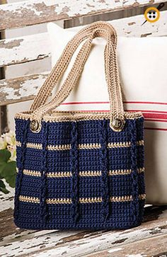 Anchors Aweigh Tote in Sinfonia by Kathy Olivarez in Crochet! magazine Anchors Aweigh Tote pattern by Kathy Olivarez, Crochet Patterns - Design is maCrochet Accessory Patterns - Design is made using 2 skeins of Navy and 1 skein of Khaki DK-weight Ome Crochet Purse Patterns, Crochet Tote, Crochet Handbags, Crochet Purses, Knitting Patterns, Bag Patterns, Sewing Patterns, Crochet Shell Stitch, Bead Crochet