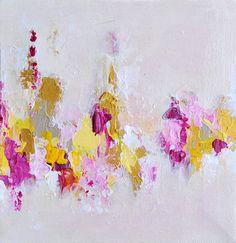 "Winter Garden Original Abstract Painting, Gold texture 8x8"""