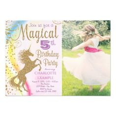 girls photo unicorn birthday party invitations