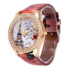 ddae199b353d7 Best Deal Quartz Watch Women Fashion Tower Pattern Diamond Dial Watches Men  Faux Leather Watch Women s