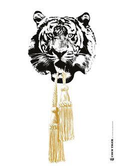 COCO TASSLE   By Studio Lisa Bengtsson    #cocoloco #cocotiger #studiolisabengtsson #print #poster #tiger #graphics
