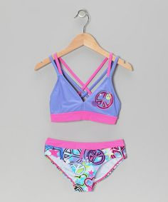 Loving this Blue Peace Sign Bikini - Girls on #zulily! #zulilyfinds