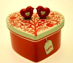 Image detail for -Ceramic Heart & Birds Trinket Box RL7RD124