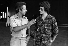 Francois Truffaut and Steven Spielberg on-set of Close Encounters of the Third Kind (1977)