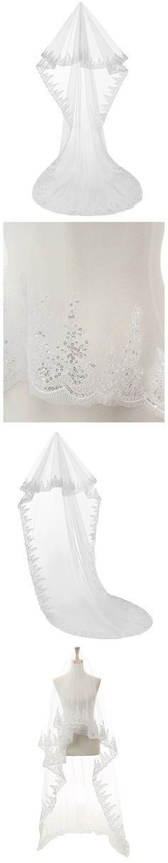 Anmor 3M Sequin Lace Applique Edge Wedding Veils Bridal Tulle Veil Accessories Free Comb AR11057