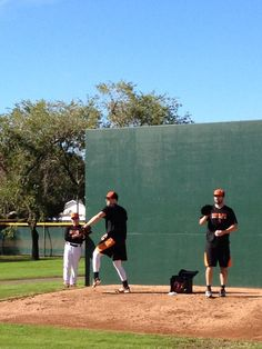Pitching coach Dave Wallace watching Jon Keller and Pat McCoy #orioles