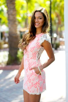 GORGEOUS Neon Pink Lace Dress with Open Back! OMG - this breathtaking dress is an excellent look for everyday wear or to a special event. Such a flattering style and easy to wear piece! We love the op