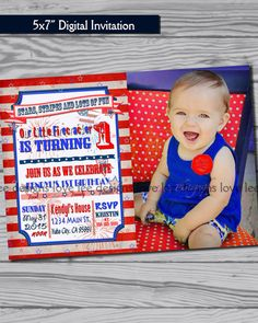 4th of July Invitation / first birthday party / by LoveLeeDesigns1