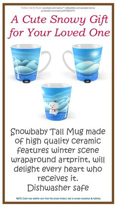 'Snowbaby on Sparkling Ice' Mug by We ~ Ivy Presents For Friends, My Themes, Website Themes, Sparkling Ice, Winter Scenes, Ivy, Snowman, Frozen, Xmas