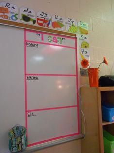 Teacher Week Classroom Digs - The Creative Apple Teaching Resources First Grade Classroom, Classroom Setup, Classroom Design, Future Classroom, School Classroom, Classroom Objectives, Neon Classroom Decor, Kindergarten Classroom Layout, Objectives Board