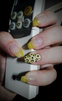 Yellow & white glitter