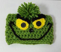 Crochet Grinch inspired Coffee Cup Cozy Sleeve by CoziYarnOwl
