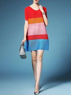 Oversized Pleated Color-block Mini Dress