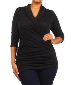 Love this J-Mode USA Los Angeles Black Ruched Surplice Top - Plus by J-Mode USA Los Angeles on #zulily! #zulilyfinds