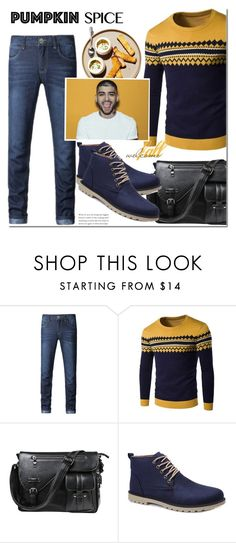 """""""Pumpkin Spice Style"""" by mada-malureanu ❤ liked on Polyvore featuring men's fashion, menswear, dresslily and pss"""
